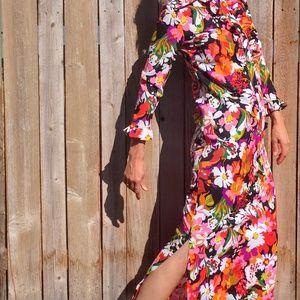 60's Bright Colored Maxi Dress Size 8